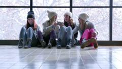 Teens Hangout Together, Girl Shares Her Smartphone With Her Friend Stock Footage