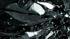 Glass broken and shattered in pieces with motion blur and slow motion Stock Footage