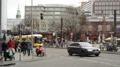 Cross road at Berlin Hackescher Markt Stock Footage