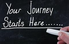 your journey starts here - stock photo
