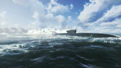 Russian Borei class submarine at the northern waters 4K Stock Footage