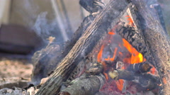 Man puts wood on campfire, 4K Stock Footage