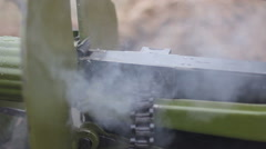 Maxim machine gun shooting. WW2 reconstruction Stock Footage