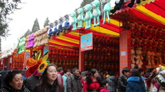 People play games in Beijing Ditan Spring festival temple fair Stock Footage