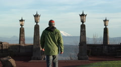 Person at Mount St Helens Viewpoint Stock Footage