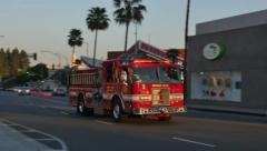 Beverly Hills Fire Truck in Action Stock Footage