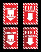 A fire extinguisher location sign for use in any safety inference - stock illustration