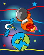 ASTRONAUT PRINT OR BACKGROUND - stock illustration