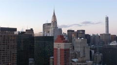 NYC skyline view and Chrysler building at sunset - stock footage