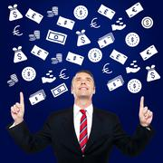 Happy businessman showing currency - stock photo