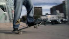 Denver Skateboarder Ledge Manual Stock Footage