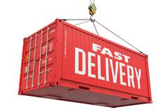 Stock Illustration of Fast Delivery - Red Hanging Cargo Container