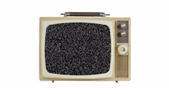 Vintage Television with Static Screen and Zoom Stock Footage