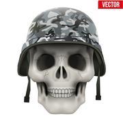 Human skull with Military helmet Stock Illustration