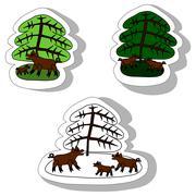 Wild boars under spruce - stock illustration