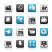 Multimedia Web Icons // Matte Series - stock illustration