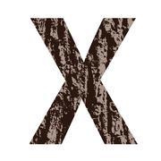 Letter X made from oak bark Stock Illustration