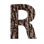 Stock Illustration of letter R made from oak bark