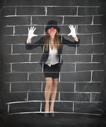 Mime imagining a wall - stock photo