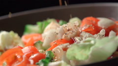 Slow motion of salad Stock Footage