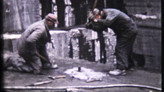 1731 - men working in granite / marble slab mine - vintage film home movie Stock Footage