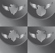 Stock Illustration of silver shield and wing art