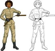 African American Nunchuck girl in military uniform - stock illustration