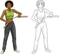 African American Nunchuck girl in sport uniform Stock Illustration