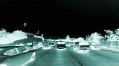 Traffic of cars shot with X-Ray Effect Filter Stock Footage