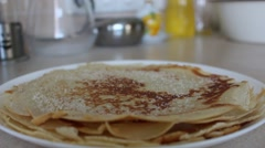 Stacking Hot Pancakes - stock footage