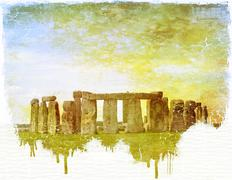 Stonehenge vintage dripping image on paper Stock Illustration