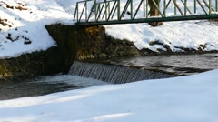 Creek Covered In Snow - Slow Motion - Winter Water Stock Footage