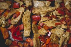 Roast Meet on Frying Pan Stock Photos