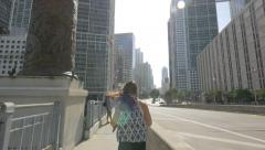 Walking on the bridge over Miami River in the afternoon, Florida Stock Footage