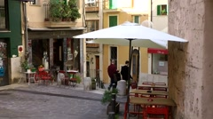 Spain Palma de Mallorca 039 street cafes in old town alley of Dalt Murada Stock Footage