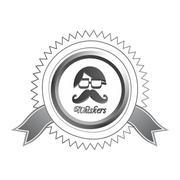 whiskers mustache guy avatar - stock illustration