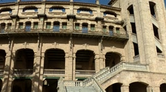 Spain Palma de Mallorca 032 bullring with outside stairwell in sunlight Stock Footage