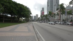 Biscayne Boulevard in a cloudy afternoon, Miami, Florida Stock Footage