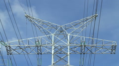 High-voltage wires and post Stock Footage