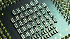 4K close up macro computer processor cpu surface rotating dolly Stock Footage