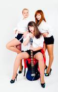 Musical band of girls - stock photo