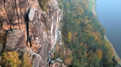 Germany abseiling climber male Bastei Rocks valley Saxony - stock footage