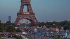 Eiffel Tower With Gardens Of The Trocadero Dusk 3 Stock Footage