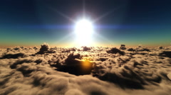 Fly over clouds in sunset Stock Footage