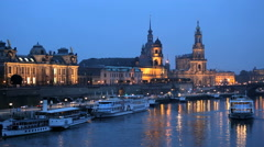 Germany Dresden city River Elbe illuminated Saxony church - stock footage
