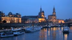 Germany Dresden city River Elbe illuminated Saxony church Stock Footage