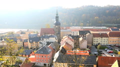 Germany Bad Schandau River Elbe building Saxony town church - stock footage