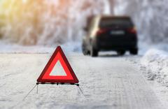 .Car with a breakdown in the winter - stock photo