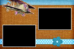 Decorative template with photo frames. Scrapbook, photobook concept - stock illustration