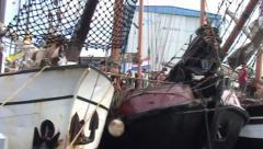 Brown fleet ships in Makkum in Friesland (Holland) Stock Footage